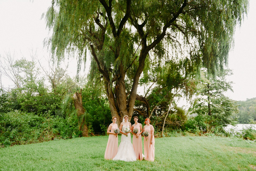 bridesmaids under willow tree at the landing 1841
