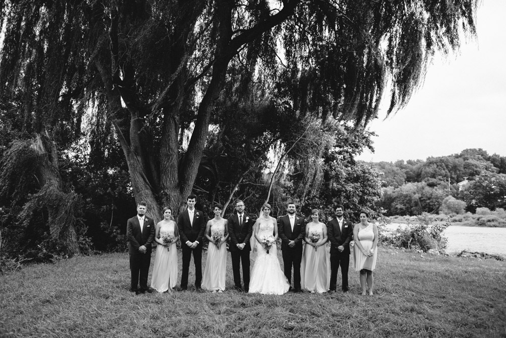 wedding party under giant willow tree at landing 1841