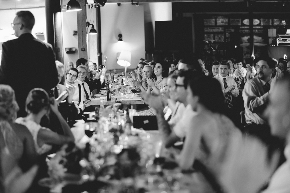 long tables at anodyne coffee wedding dinner