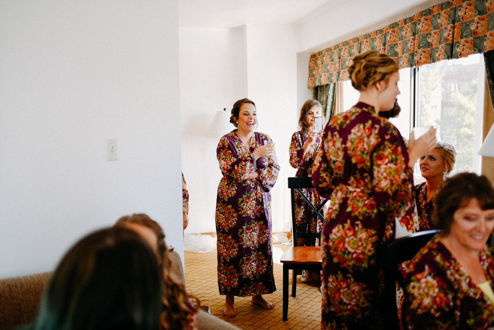 milwaukee bridesmaids in floral robes