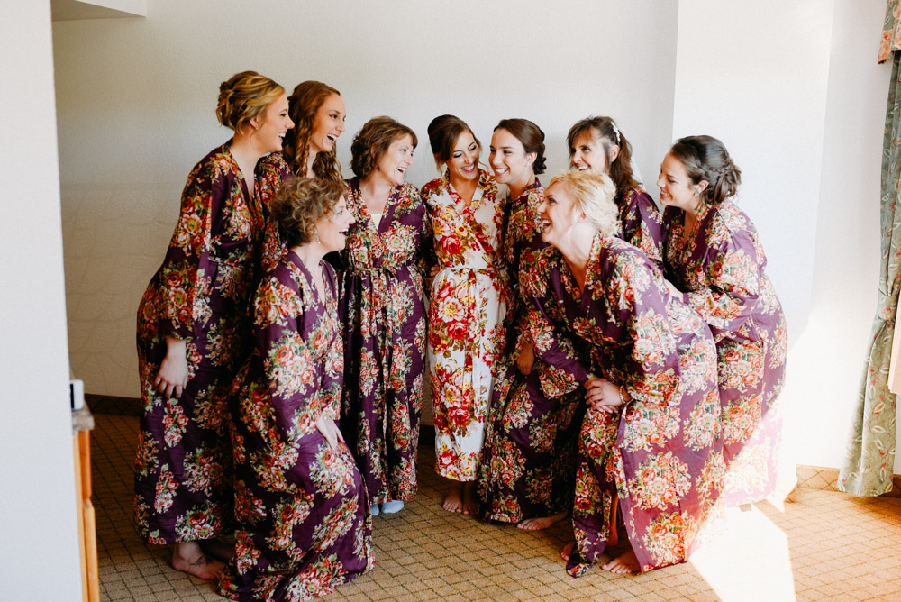 bridesmaids in floral robes on milwaukee wedding morning