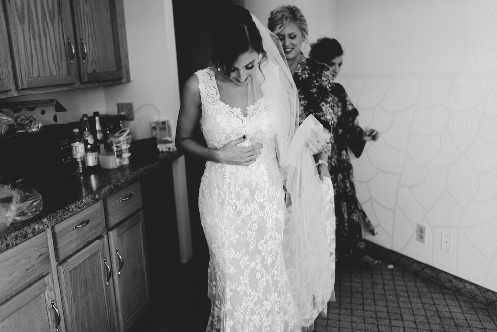 milwaukee bride in wedding dress with tons of lace