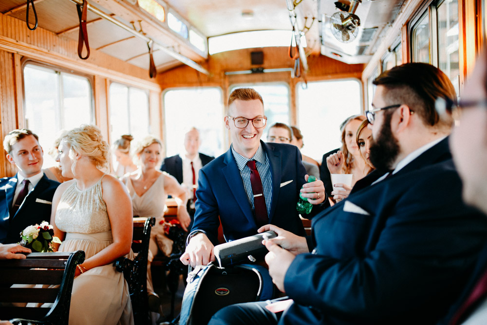 milwaukee wedding trolley with wooden interior