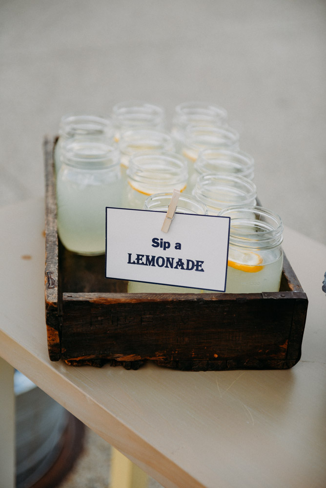 wooden tray with fresh lemonade