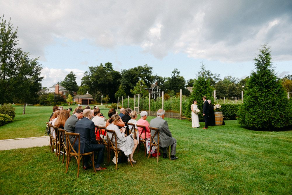 outdoor garden ceremony setup