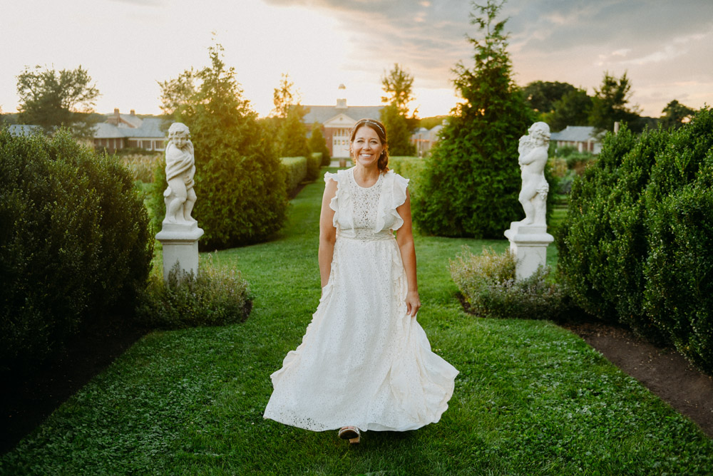bride in romantic ruffled wedding dress