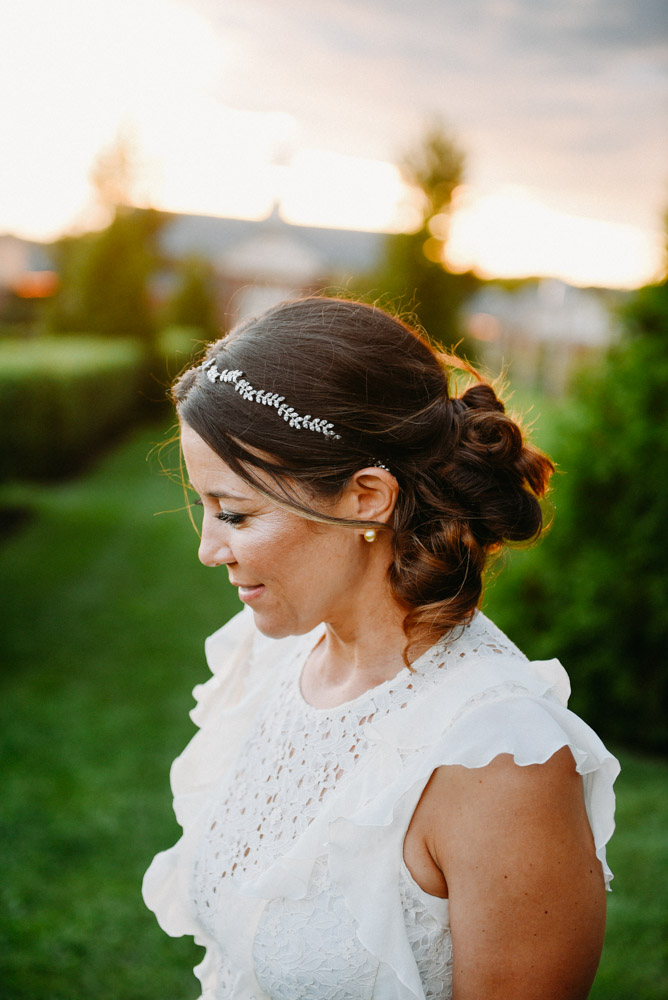 organic silver bridal headpiece