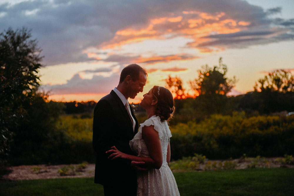 sunset during elawa farm wedding in lake forest