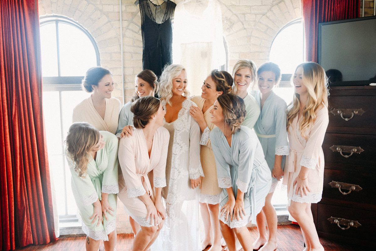 bridesmaids in robes together