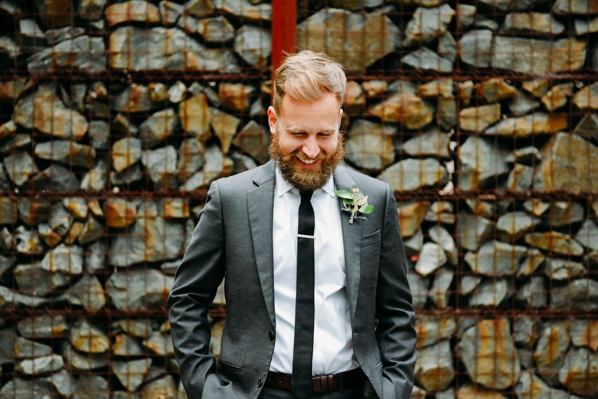 laughing groom portrait
