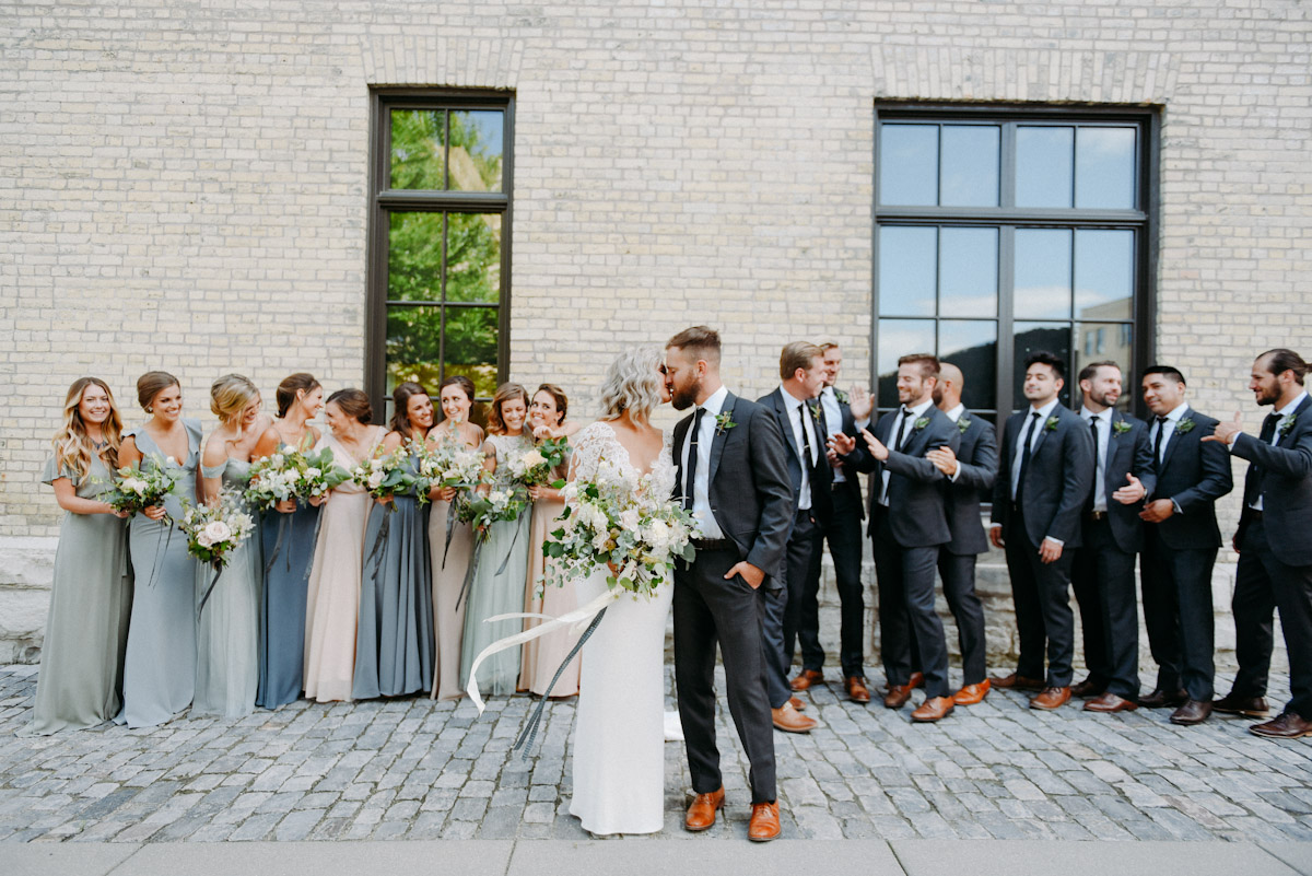 exposed brick background for wedding photos