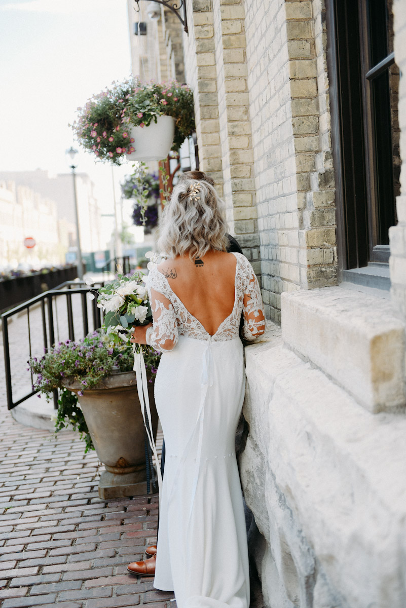 open back wedding dress with lace sleeves
