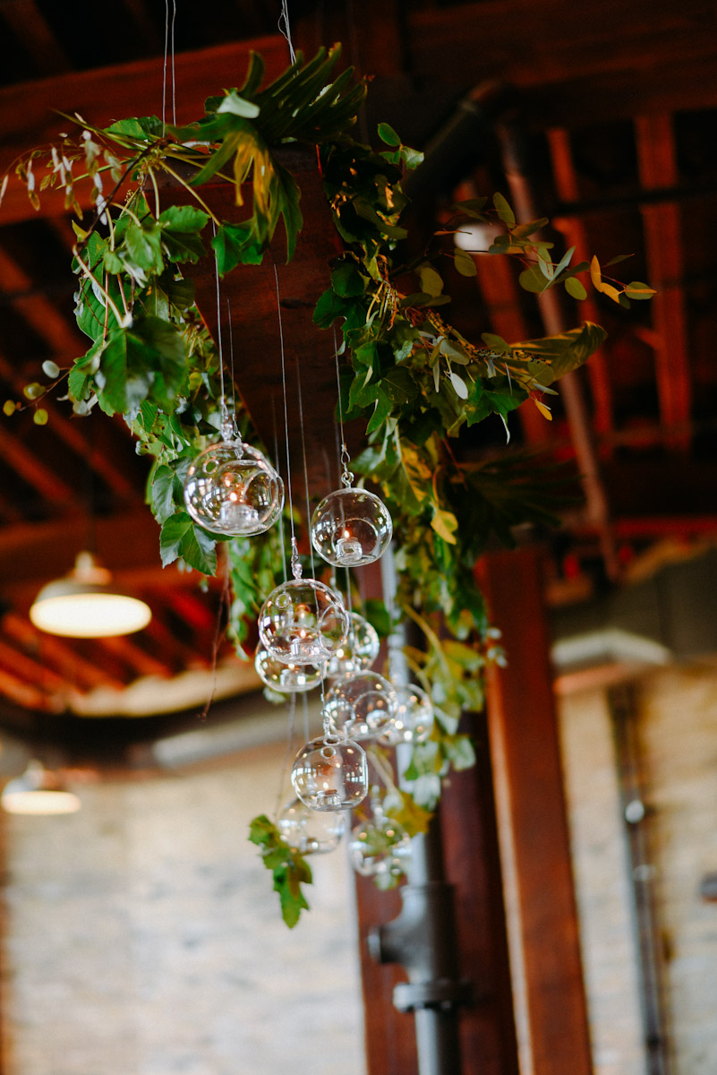 hanging floral decoration with candles