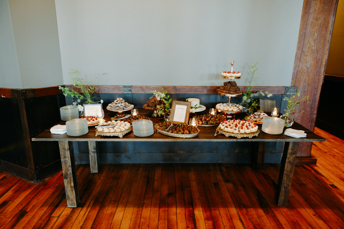 dessert table at pritzlaff milwaukee wedding by miss mollys cafe