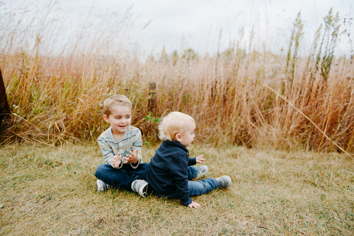 boys playing in tall grass