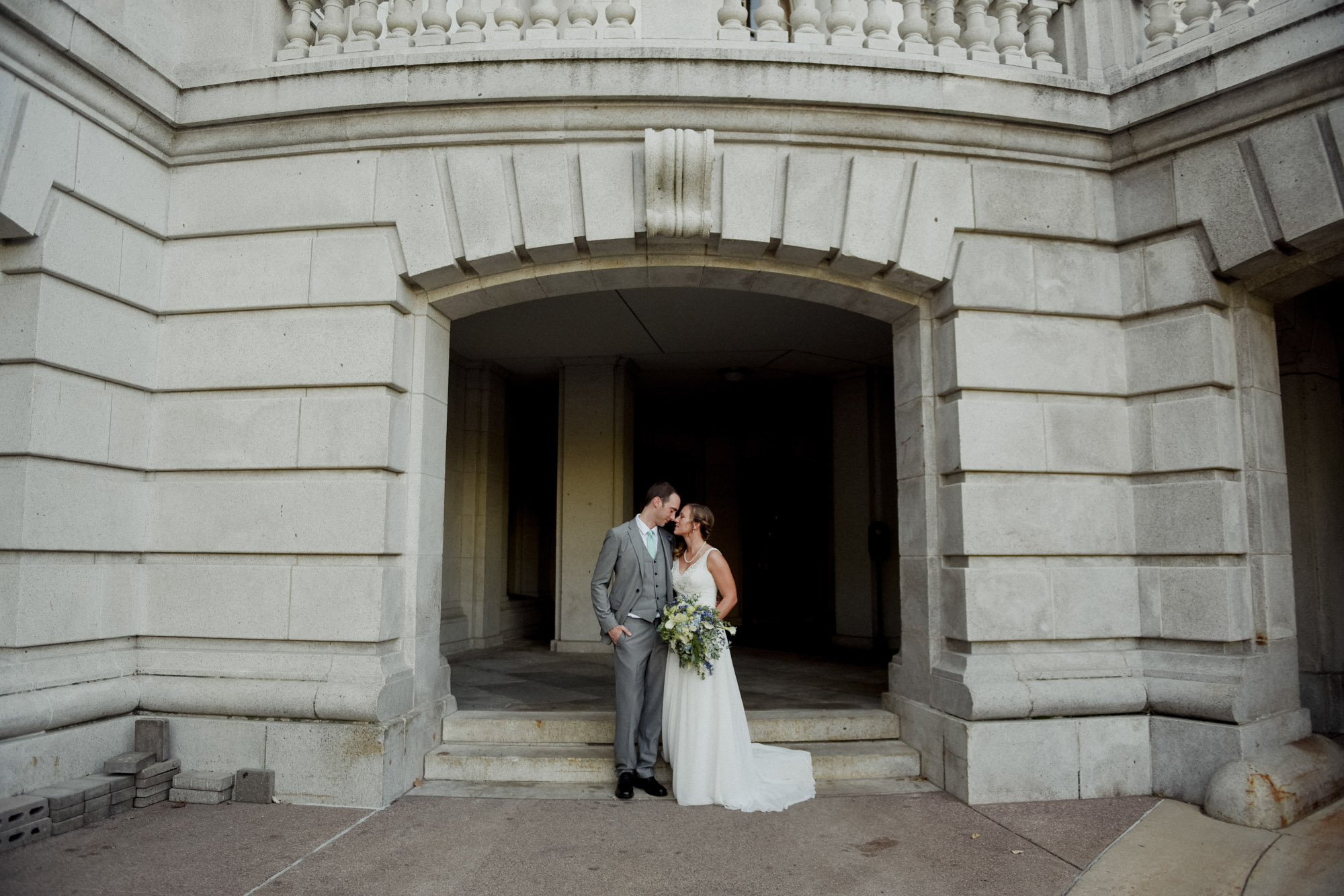 bride and groom at madison captiol