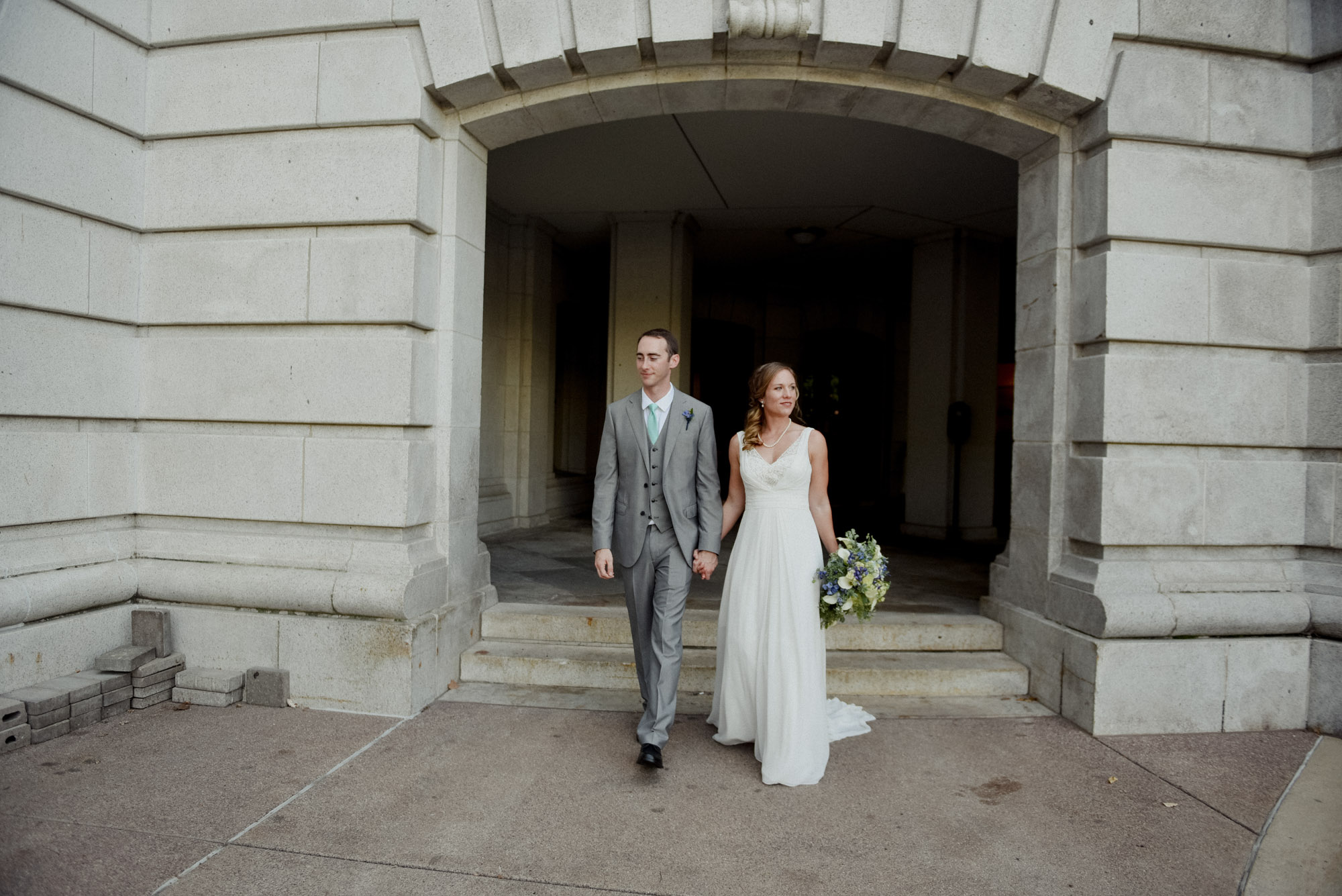 bride and groom at madison rooftop wedding