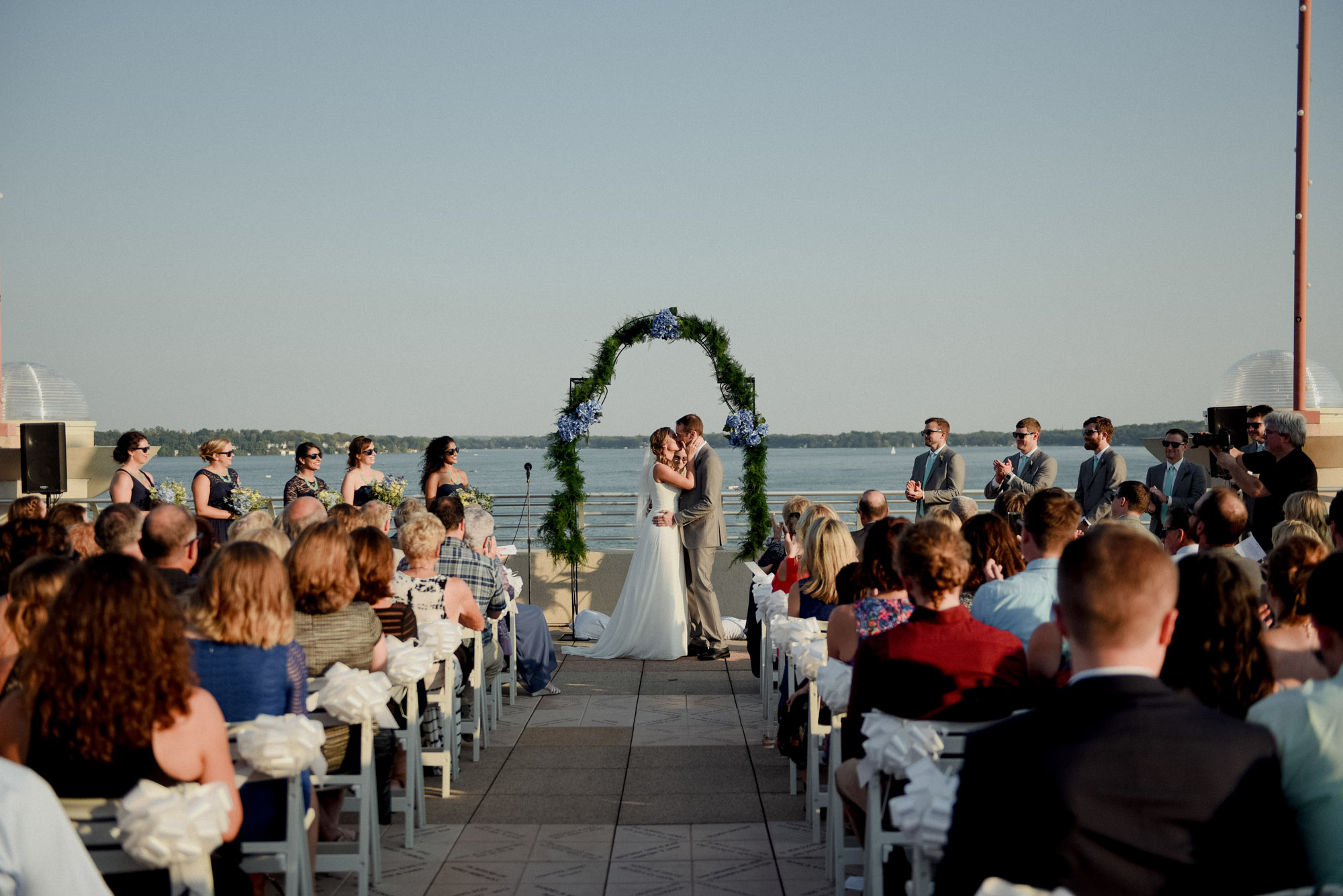 first kiss at wisconsin rooftop wedding