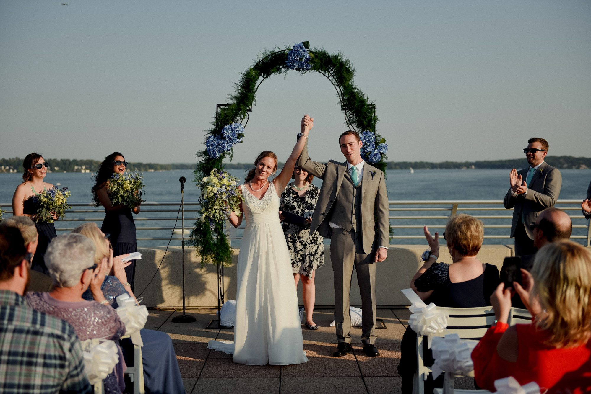 newly married at wisconsin rooftop wedding