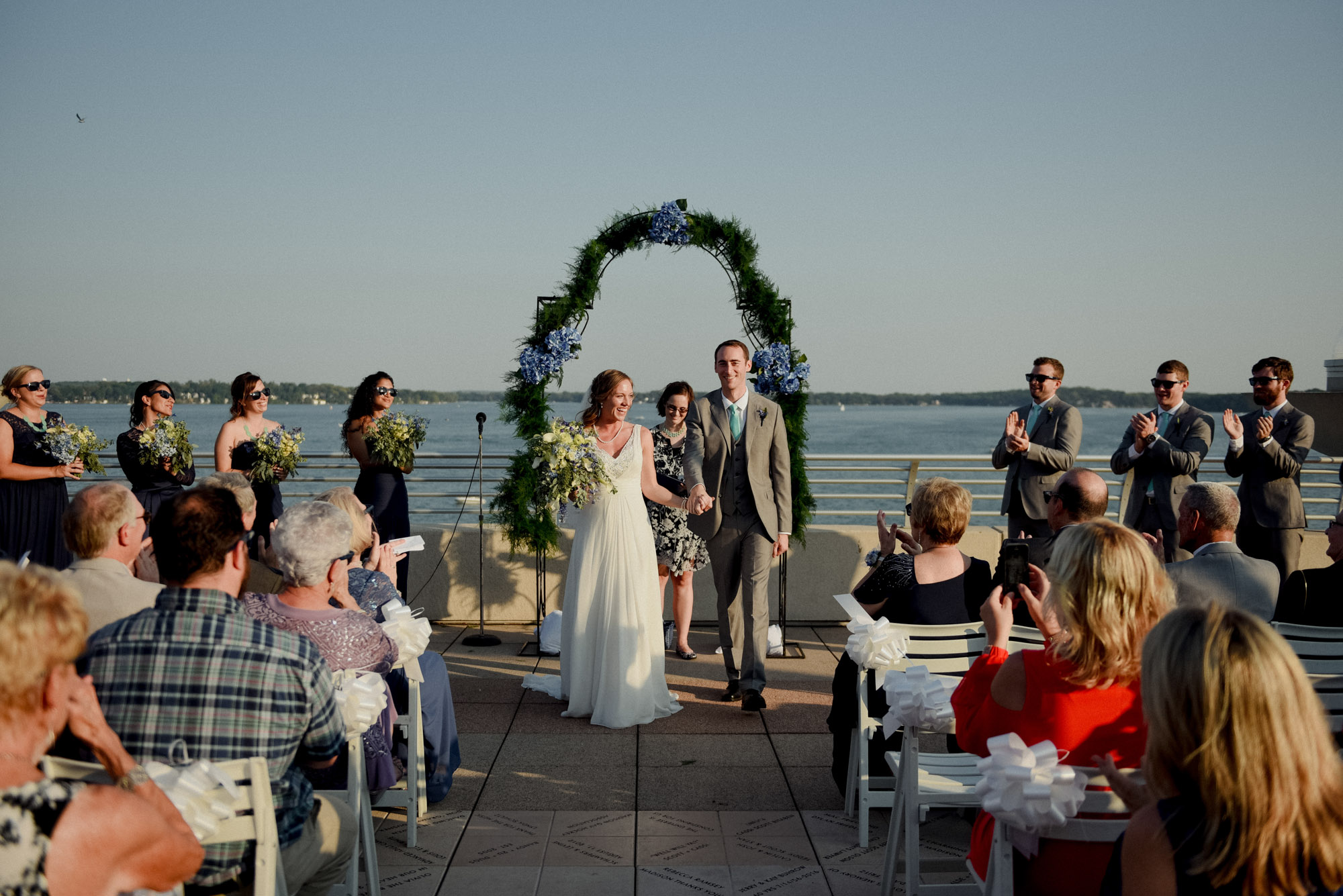 monona terrace rooftop wedding in madison view