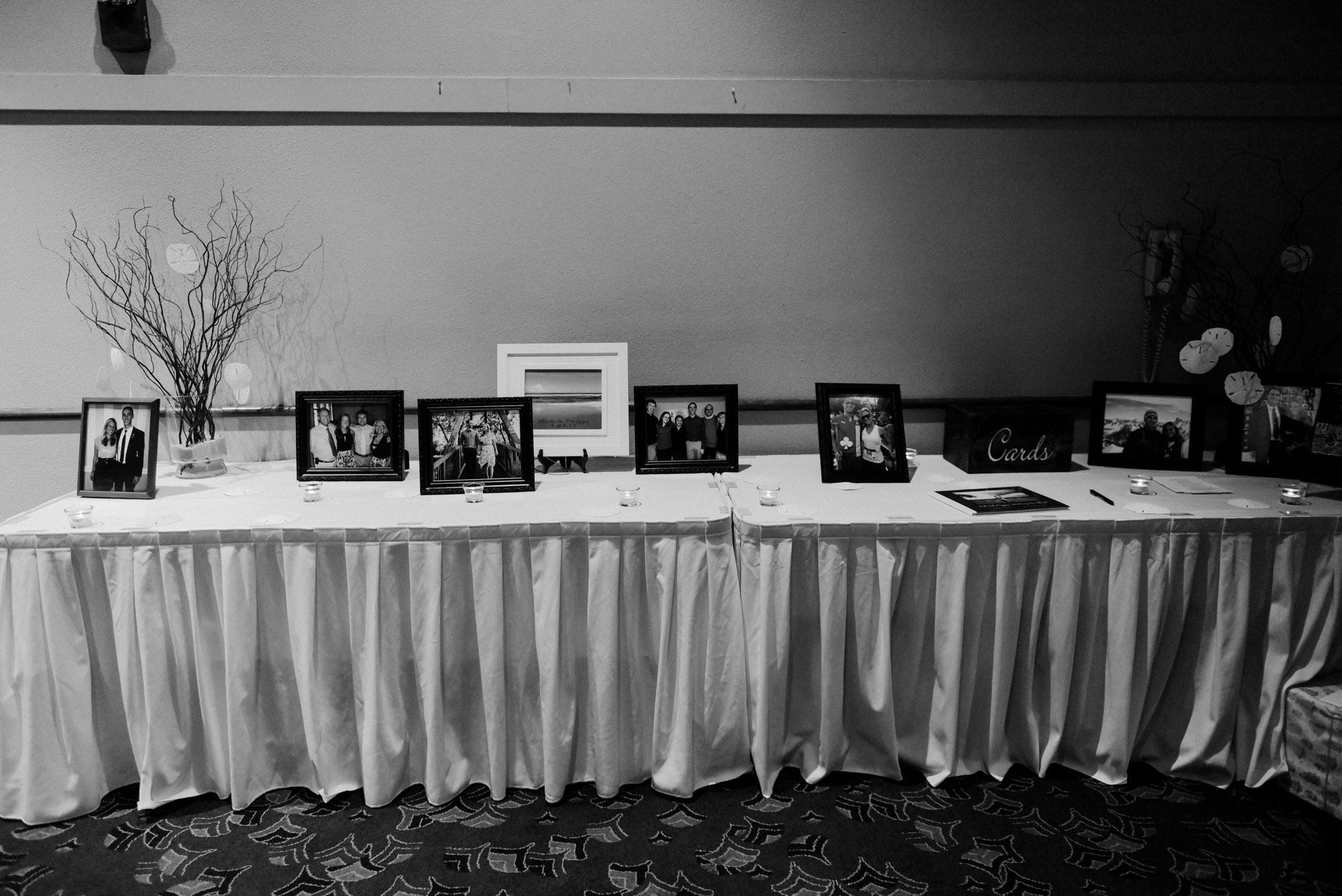 wedding table with family photos