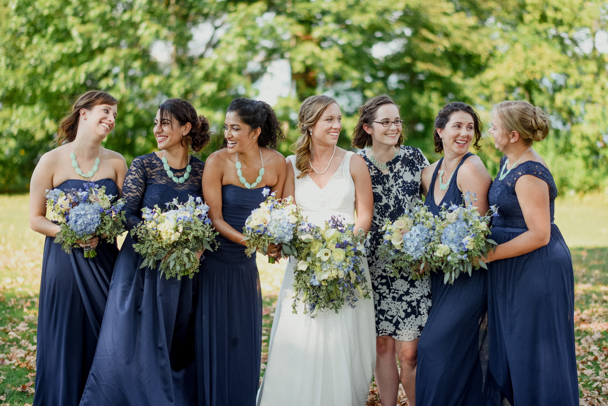 bridal party at olin park in madison