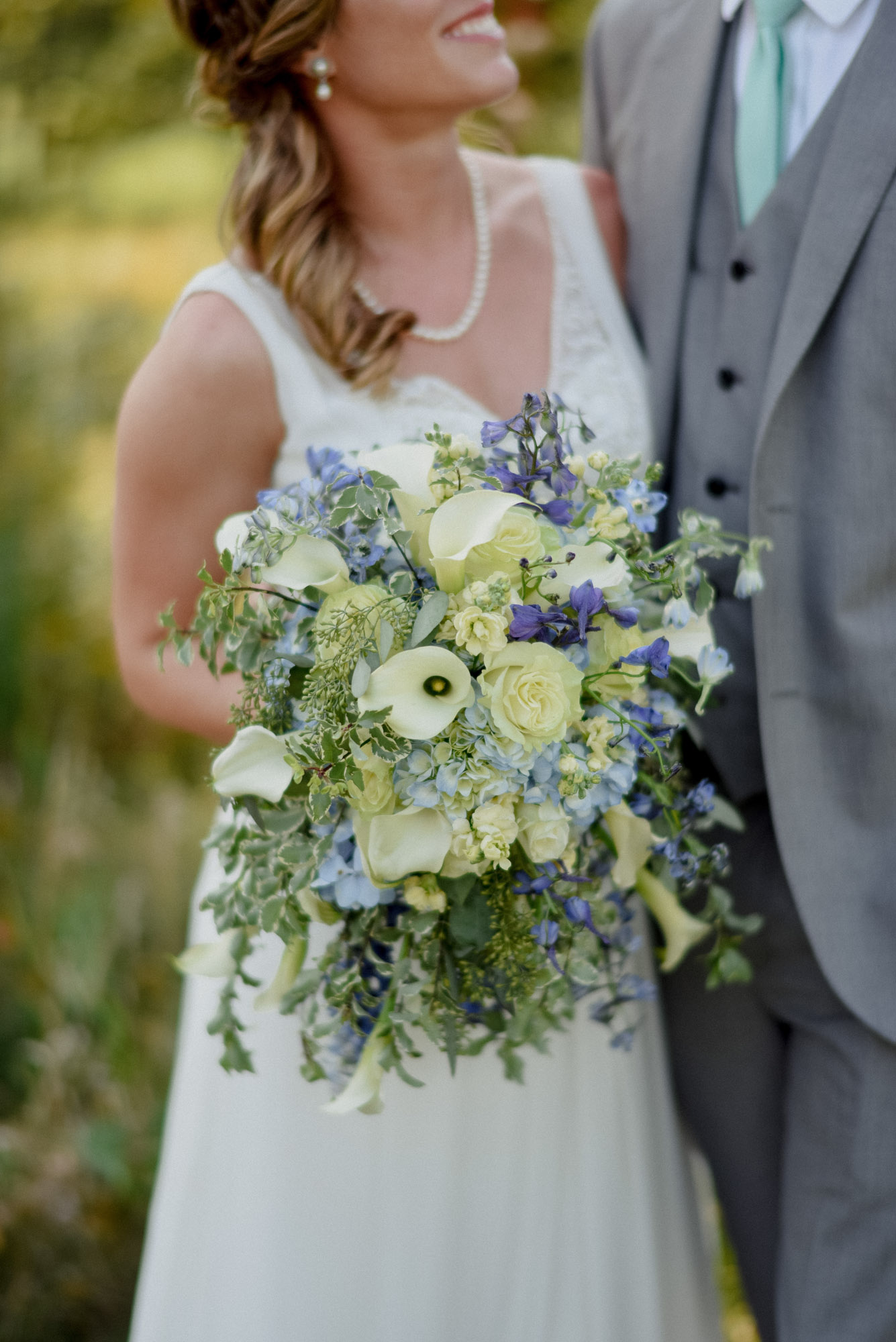 bridal bouquet in blue and green