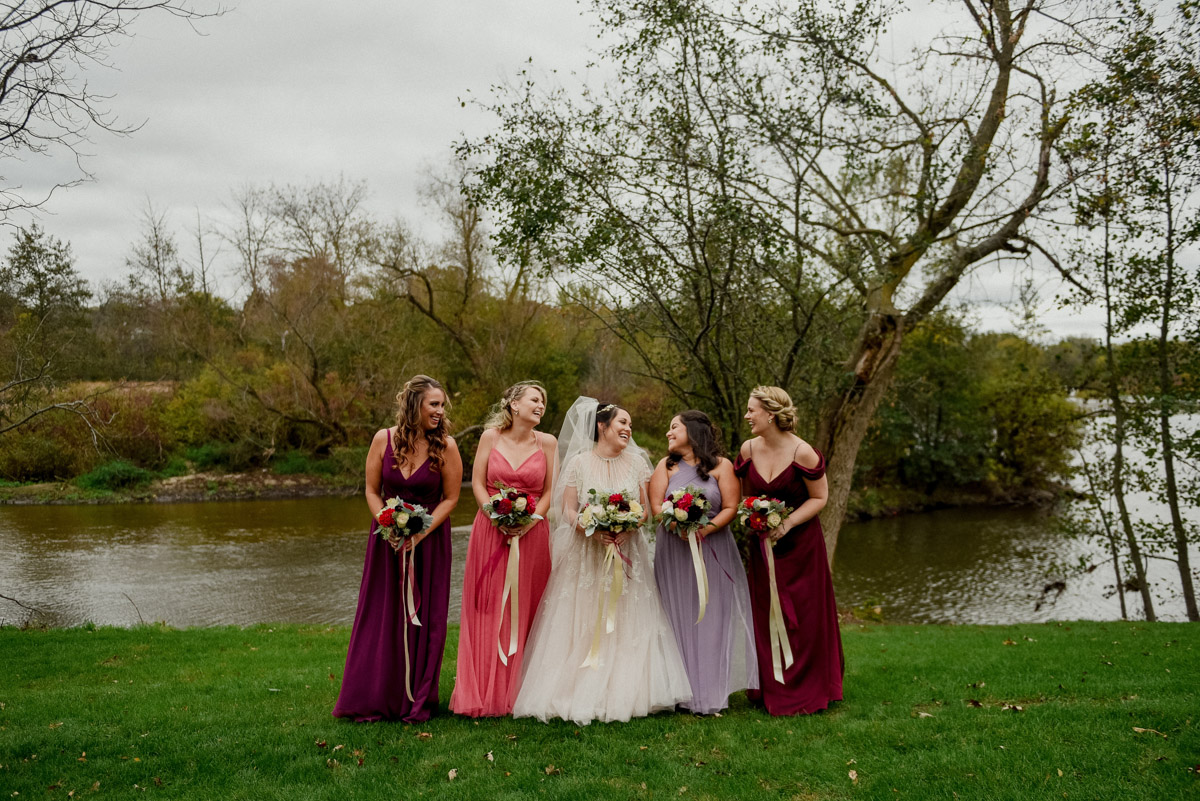 mixed bridesmaid dresses in pink