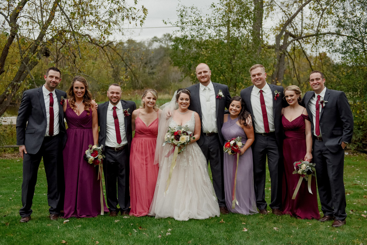 adorable wedding party in bright colors