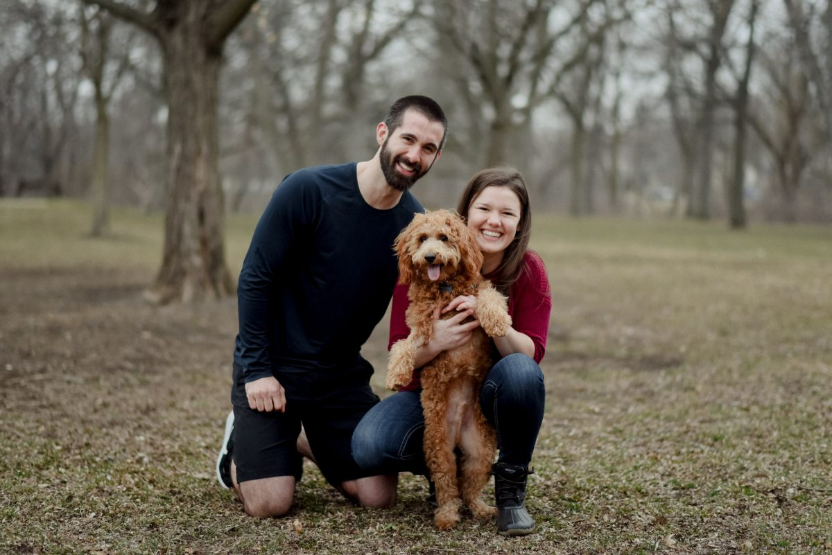 proposal with labradoodle