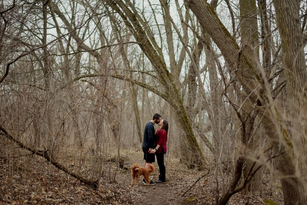 kissing in wisconsin woods